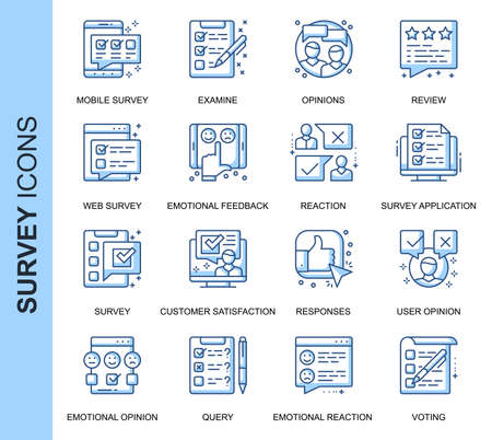 Thin Line Survey Related Vector Icons Set for Website and Mobile Site and Apps