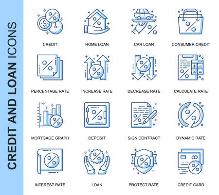 Thin Line Credit and Loan Related Vector Icons Set for Website and Mobile Site and Apps. Outline icons design. Contains such Icons as Rate Calculator, Credit, Deposit and more. Linear Pictogram Pack.