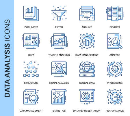Thin Line Data Analysis Related Vector Icons Set for Website and Mobile Site and Apps. Outline icons design. Contains such Icons as Big Data, Processing, Performance and more. Linear Pictogram Pack.
