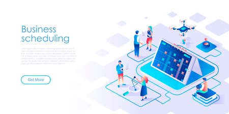 Business scheduling isometric landing page vector template. Effective time management website homepage UI illustration layout. Workflow productivity optimization webpage isometry concept