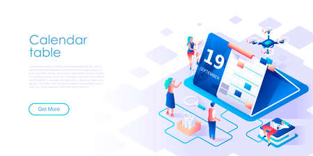 Calendar table isometric landing page vector template. Effective workflow organization website homepage interface illustration layout. Business schedule planning web banner isometry concept Vektorové ilustrace