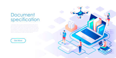 Document specification isometric landing page vector template. Corporate information organization website homepage UI illustration layout. Business files management web banner isometry concept