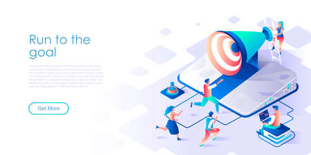 Run to goal isometric landing page vector template. Staff management, workers motivation website homepage interface layout. Success achievement seminar web banner isometry concept Illustration