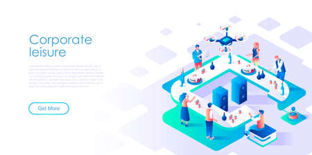 Corporate leisure isometric landing page vector template. Business staff recreation website homepage interface illustration layout. Informal colleagues communication web banner isometry concept