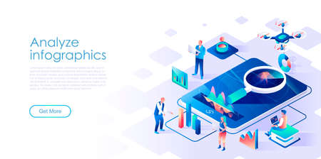 Analyze infographics isometric landing page vector template. Business research firm website homepage interface illustration layout. Stock market statistics analysis web banner isometry concept