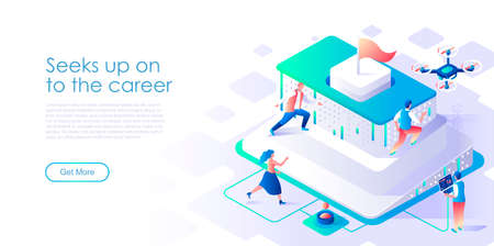 Seek up on to career isometric landing page vector template. Business success achievement website homepage UI layout. Corporate competition, job promotion web banner isometry concept Иллюстрация