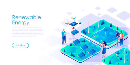 Renewable energy isometric landing page vector template. Eco friendly power resources website homepage UI illustration layout. Environmentally safe technology web banner isometry concept