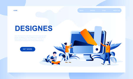 Design vector landing page template with header. Creating media content web banner, homepage design with flat illustrations. Graphic designers, illustrators cartoon character working