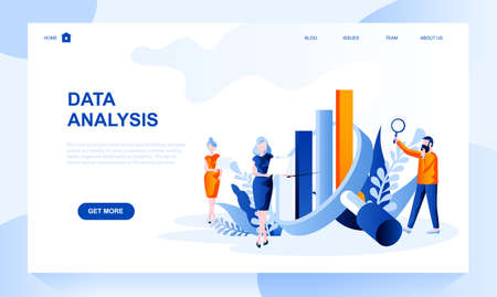 Data analysis vector landing page template with header. Information analytics web banner, homepage design with flat illustrations. Business forecast, research and statistics website layout Ilustrace