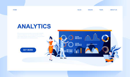 Analytics vector landing page template with header. Statistics research web banner, homepage design with flat illustrations. Business development, economic strategy web site layout Ilustrace