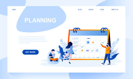 Planning vector landing page template with header. Online calendar homepage design with flat illustrations. Time management, optimization and organisation. Business schedule design layout