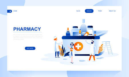 Pharmacy vector landing page template with header. Apothecary homepage banner design with flat illustrations. Drugstore and chemists shop website layout with text space and pharmacist characters