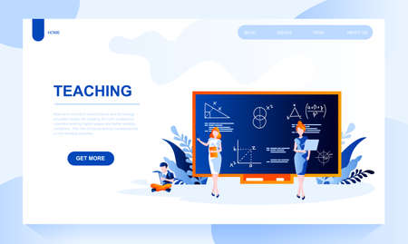 Teaching vector landing page template with header. Education web banner, homepage design with flat illustrations. College, university and school teacher character explaining math near blackboard Ilustrace