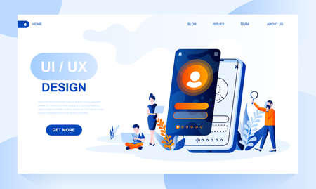 Ui, ux design vector landing page template with header. Application interface designers web banner, homepage design with flat illustrations. Programming, mobile software website layout 向量圖像