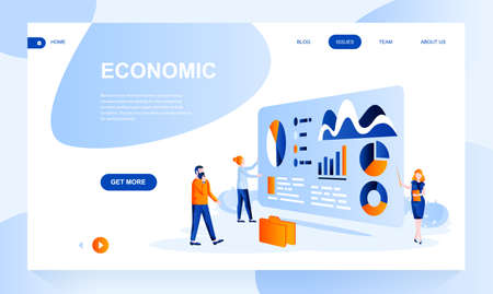 Economic flat landing page template with header. Analytics web banner, homepage design. Financial service vector illustration. Business forecast, research and statistics website layout Ilustrace