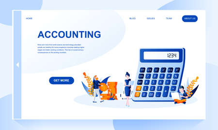 Accounting vector landing page template with header. Bookkeeping web banner, homepage design with flat illustrations. Accountants cartoon characters. Money calculation, cash counting