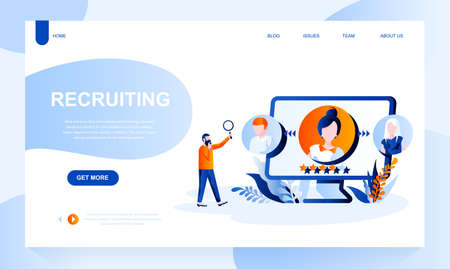 Recruiting vector landing page template with header. Staff search web banner, homepage design with flat illustrations. Headhunting, employment service, employee selection website layout