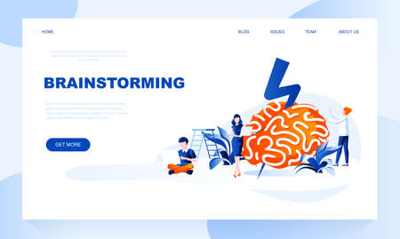 Brainstorming vector landing page template with header. Idea generation web banner, homepage design with flat illustrations. Creative thinking. Innovative business solution website layout