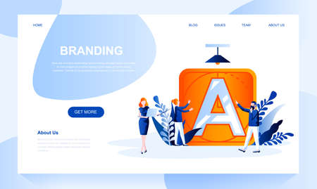 Branding vector landing page template with header. Corporate identity web banner, homepage design with flat illustrations. Brand promotion. Company logo creating idea website layout