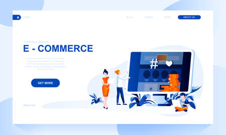 E-commerce vector landing page template with header. Online selling web banner, homepage design with flat illustrations. Internet store, social network account promotion website layout