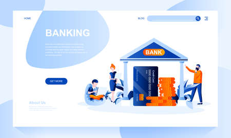 Banking vector landing page template with header. Financial institution web banner, homepage design with flat illustrations. Deposit, cash account. Savings investment website layout