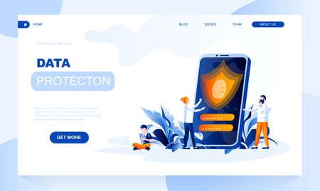 Data protection vector landing page template with header. Information safety web banner, homepage design with flat illustrations. Touch id, personal identification, passcode to unlock smartphone