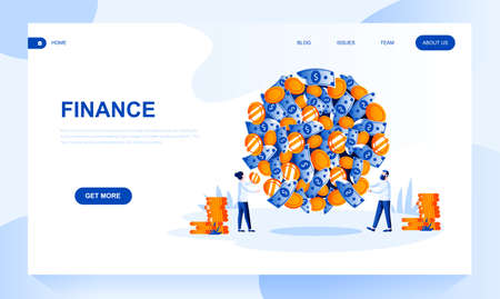Finance vector landing page template with header. Financial operations with currency web banner, homepage design with flat illustrations. Businessmen cartoon characters. Budget planning