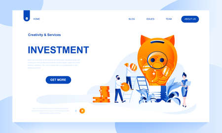 Investment vector landing page template with header. Generating income web banner, homepage design with flat illustrations. Investor cartoon characters. Business strategy and appreciation Ilustrace