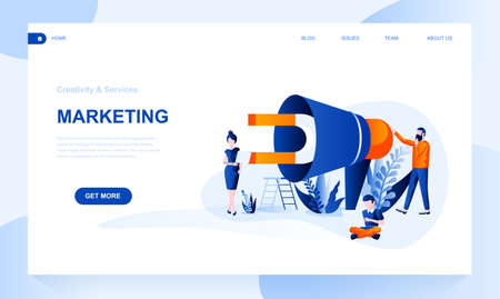 Marketing vector landing page template with header. Product, merchandise promotion web banner, homepage design with flat illustrations. Management strategy. Lead generation website layout