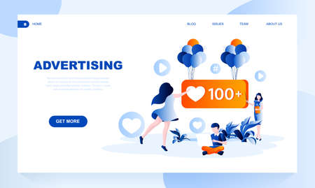 Advertising vector landing page template with header. Successful promotion web banner, homepage design with flat illustrations. SMM strategy. Business project creative idea website layout