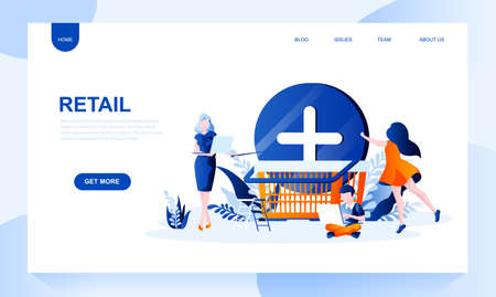 Retail vector landing page template with header. Distributive trades web banner, homepage design with flat illustrations. Commerce, purchase, adding product to basket. Retailment website layout