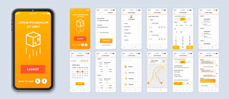 Delivery mobile app smartphone interface vector templates set. Online parcel shipping web page design layout. Pack of UI, UX, GUI screens for application. Phone display. Web design kit Ilustrace
