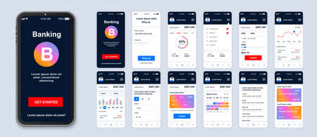 Mobile banking app smartphone interface vector templates set. Financial services online web page design layout. Pack of UI, UX, GUI screens for application. Phone display. Web design kit Ilustrace