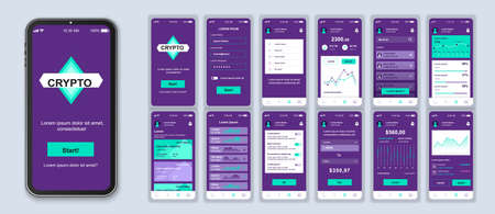 Cryptocurrency smartphone interface vector templates set. Financial app. Mobile wallet. Web page design layout. Pack of UI, UX, GUI screens for application. Phone display. Web design kit