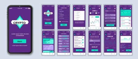 Set di modelli vettoriali per l'interfaccia smartphone di criptovaluta. Applicazione finanziaria. Portafoglio mobile. Layout di progettazione della pagina Web. Pacchetto di schermate UI, UX, GUI per l'applicazione. Display del telefono. Kit di progettazione web