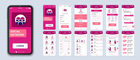 Social network smartphone interface vector templates set. Internet communication. Mobile app page pink design layout. Pack of UI, UX, GUI screens for application. Web design elements kit