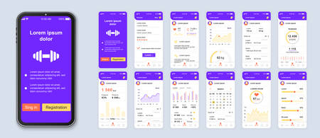Fitness mobile app interface design vector templates set. Calorie counter. Healthcare and lifestyle web page design layout. Pack of UI, UX, GUI screens for application kit. Phone display