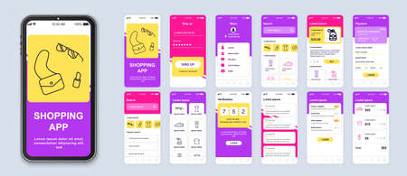 Shopping app smartphone interface vector templates set. Online clothes store web page design layout. Pack of UI, UX, GUI screens for application. Phone display. Mobile shop web design kit