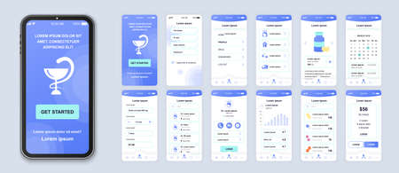 Medicine smartphone interface vector templates set. Healthcare and lifestyle mobile app. Web page design layout. Pack of UI, UX, GUI screens for application. Phone display. Web design kit Ilustrace