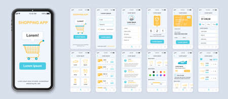 Shopping app interface design vector templates set. Online fashion store web page design layout. Pack of UI, UX, GUI screens for application. Phone display. Mobile clothes shop web design kit