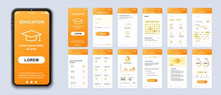 Education smartphone interface vector templates set. Studying online mobile app orange web design layout. Pack of UI, UX, GUI screens for application. Phone display. Web design kit Ilustrace