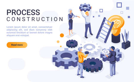 Process construction landing page vector template with isometric illustration. Brainstorming and idea generation homepage interface layout with isometry. Team building 3d webpage design
