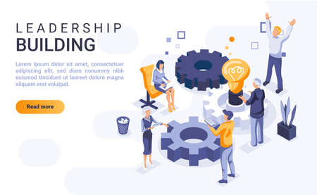 Leadership building landing page vector template with isometric illustration. Business organization and administration homepage interface layout with isometry. Workflow management 3d webpage design
