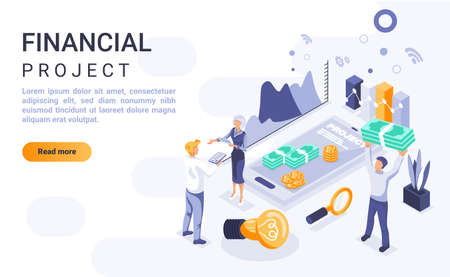 Financial project landing page vector template with isometric illustration. Company budget management homepage interface layout with isometry. Corporate economic strategy 3d webpage design