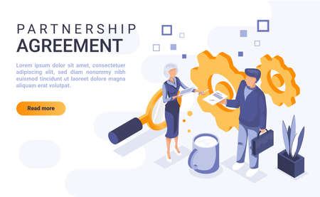 Partnership agreement landing page vector template with isometric illustration. Dealmaking and relationship establishment homepage interface layout with isometry. Contract conclusion 3d webpage design Illusztráció