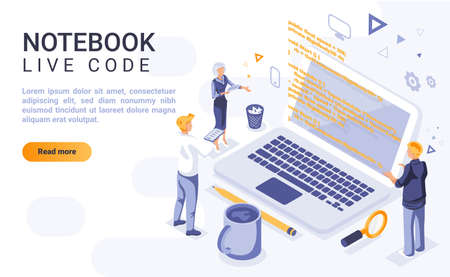 Notebook live code landing page vector template with isometric illustration. Interactive computer programming homepage interface layout with isometry. Software development 3d webpage design idea