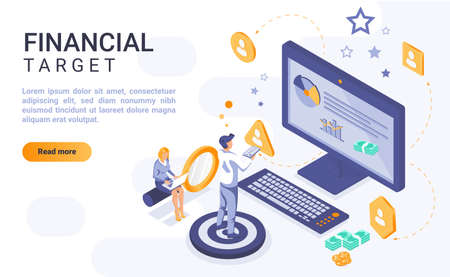 Financial target landing page vector template with isometric illustration. Money aim homepage interface layout with isometry. Corporate growth, business goal 3d webpage design idea Ilustrace