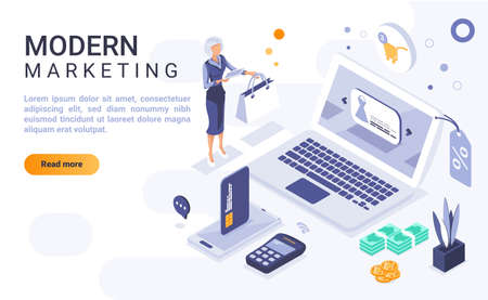 Modern marketing landing page vector template with isometric illustration. Advertising business homepage interface layout with isometry. Online technology for customer attraction. 3d webpage design