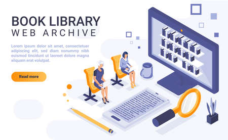 Book library landing page vector template with isometric illustration. Web archive homepage interface layout with isometry. Digital bibliotheca. Online information center 3d webpage design idea