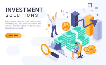 Investment solutions landing page vector template with isometric illustration. Financial management homepage interface layout with isometry. Revenue increase strategies 3d webpage design idea